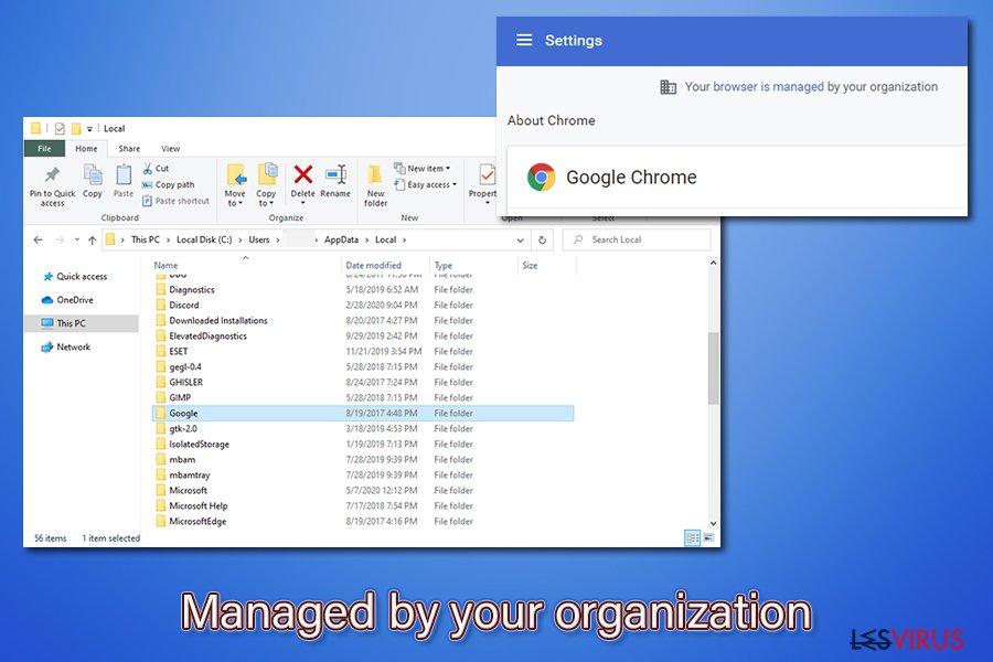 """""""Von Ihrer Organisation verwaltet"""" beseitigen"""
