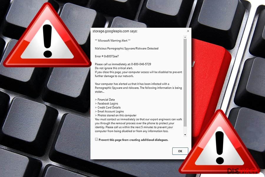 """Malicious Pornographic Spyware/Riskware Detected"" virus"