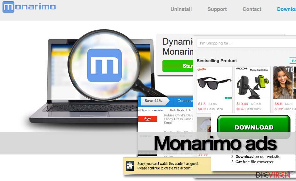 Examples of Monarimo ads