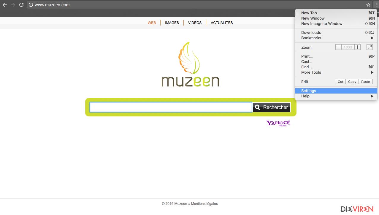 The image of Chrome hijack with Muzeen.com virus