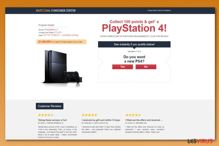 """""""National Consumer Center""""-Anzeigen-Screenshot"""