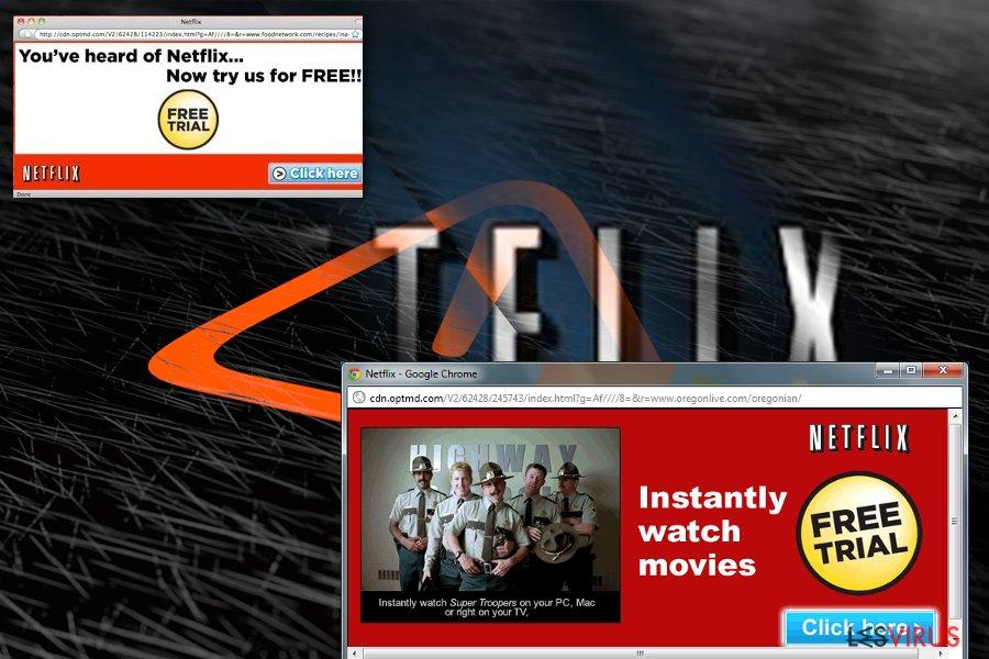 Netflix.com pop-up ads