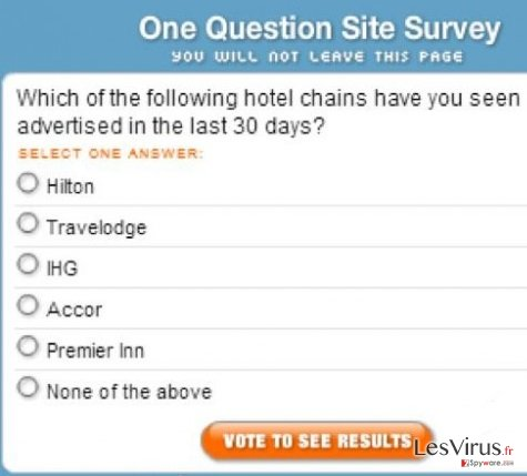 """One Question Site Survey""-Pop-up-Virus-Screenshot"