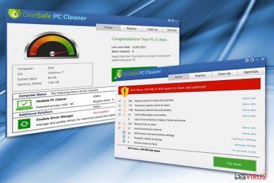 Das Bild zeigt das Programm OneSafe PC Cleaner.