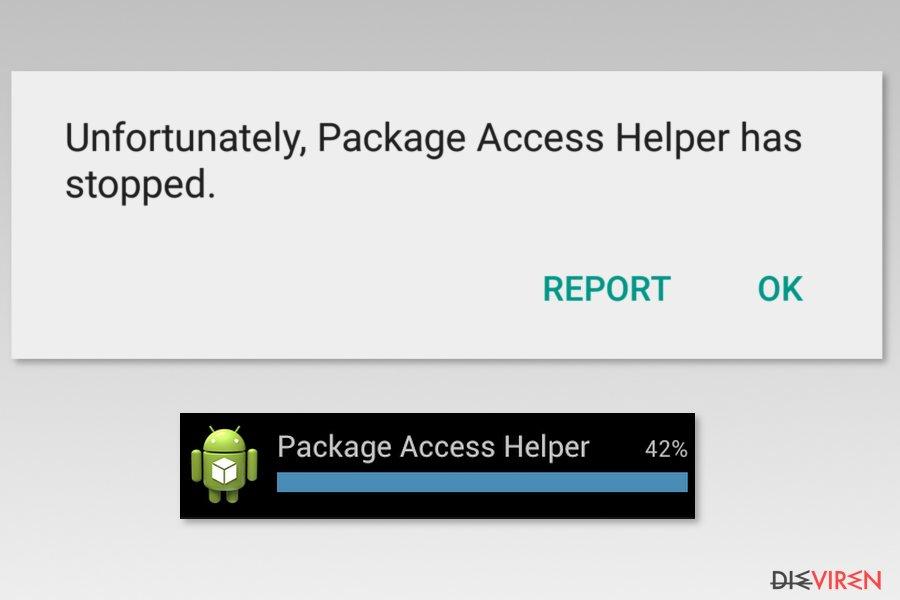 Examples of Package Access Helper error