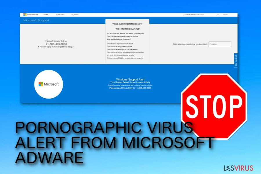 Pop-up-Betrug PORNOGRAPHIC VIRUS ALERT FROM MICROSOFT