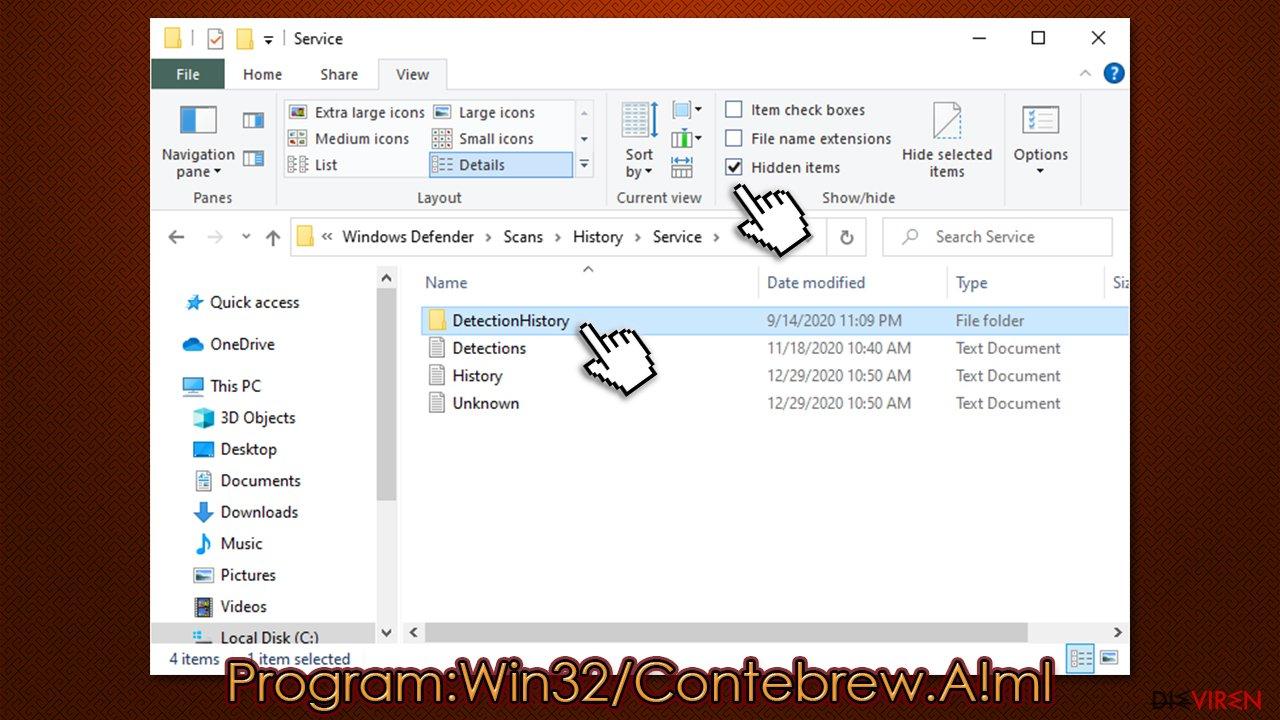 Entfernung von Program:Win32/Contebrew.A!ml