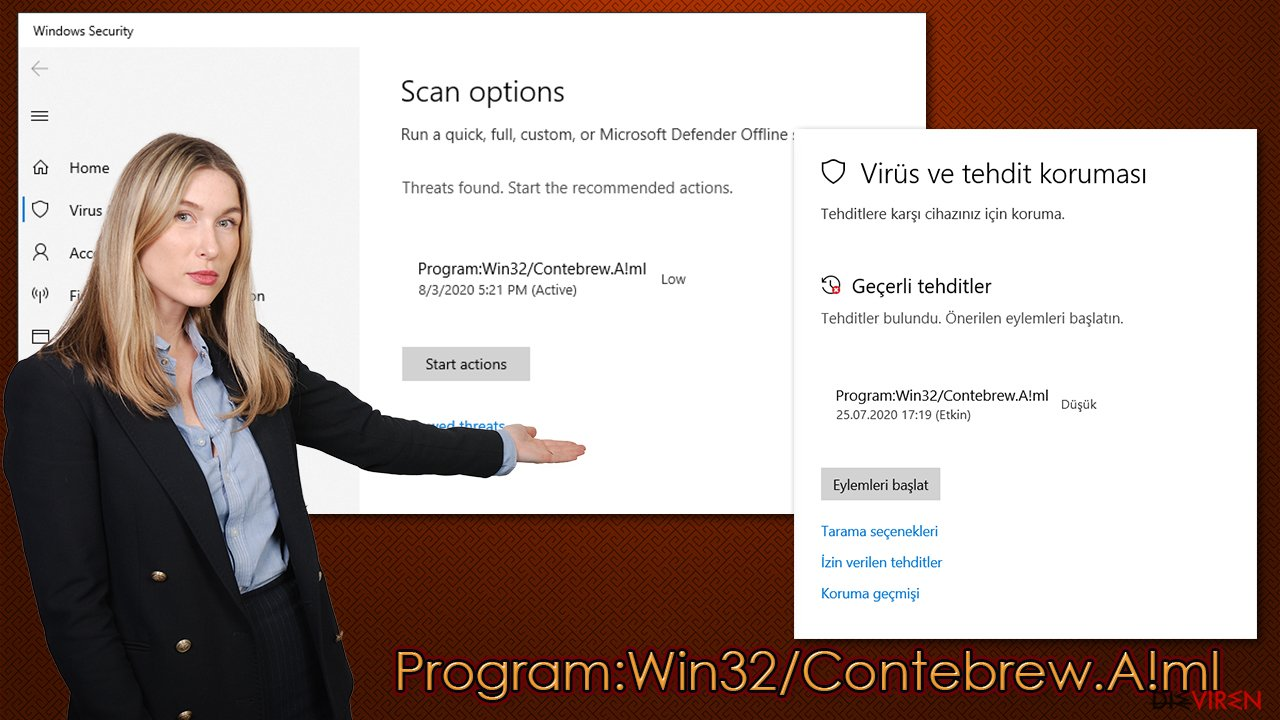 Der Virus Program:Win32/Contebrew.A!ml