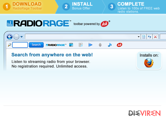 RadioRage Toolbar-Screenshot