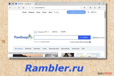 Rambler.ru, eine Browser hijackende Anwendung