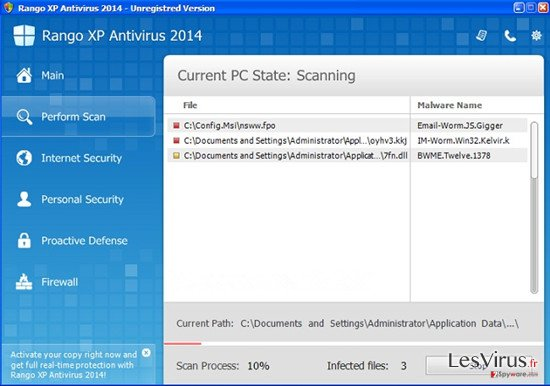 Rango XP Antivirus 2014-Screenshot