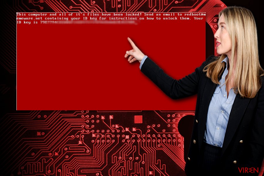 Das Bild illustriert die erpresserische Mitteilung von RedBoot