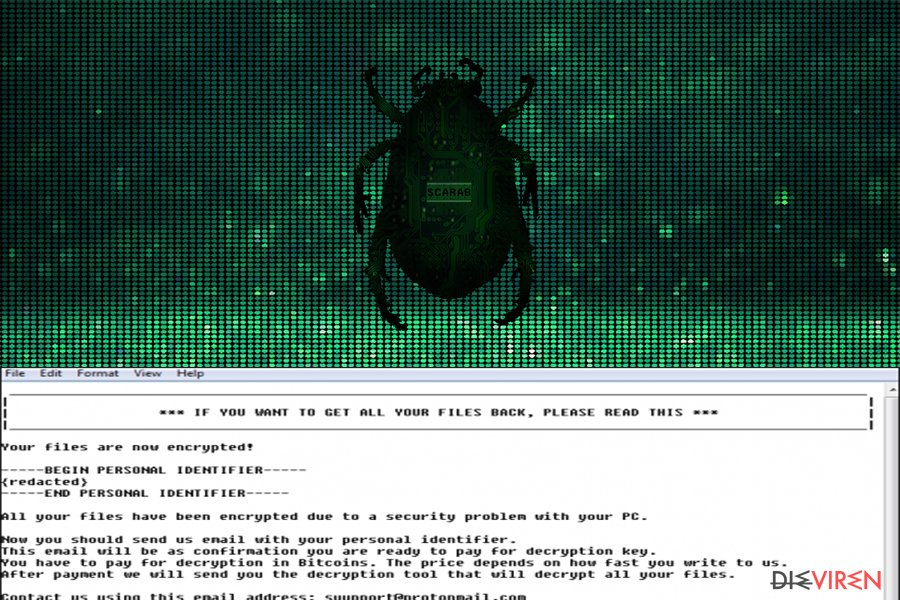 Scarab-Erpressersoftware-Screenshot