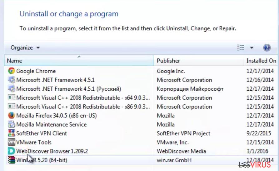 Bild der Anwendung WebDiscover Browser