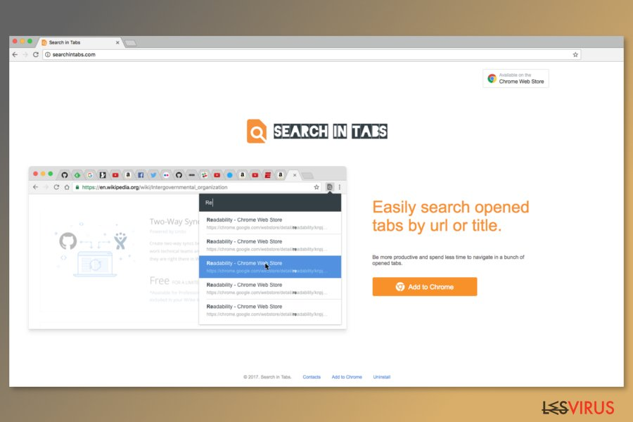 Screenshot der Downloadseite von Search In Tabs