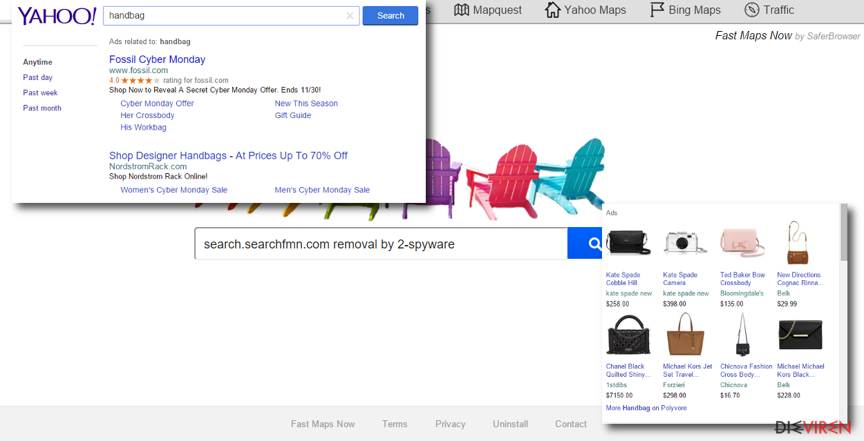 search.searchfmn.com redirects people to sponsored websites and displays sponsored ads