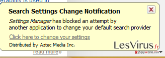 Pop-up-Virus Settings Manager by Aztec Media Inc-Screenshot