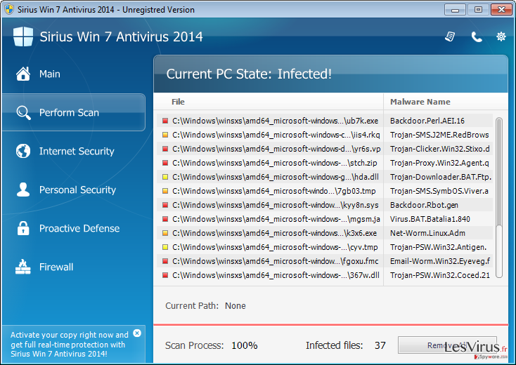 Sirius Win 7 Antivirus 2014-Screenshot