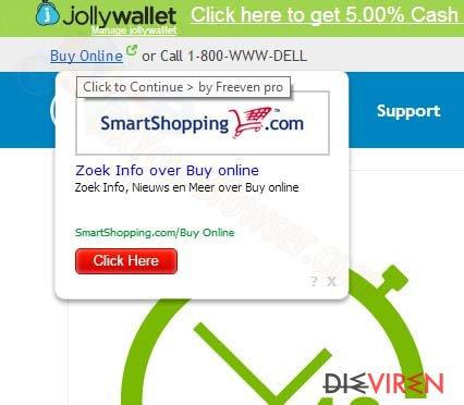 SmartShopping.com Pop-Up-Anzeigen-Screenshot