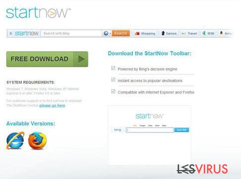 Yahoo Startnow Virus-Screenshot