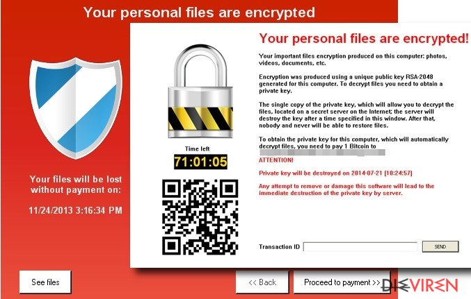 The picture showing Keranger ransomware