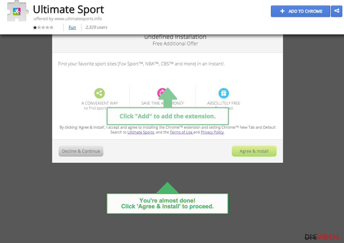 ads by Ultimate Sport provider website