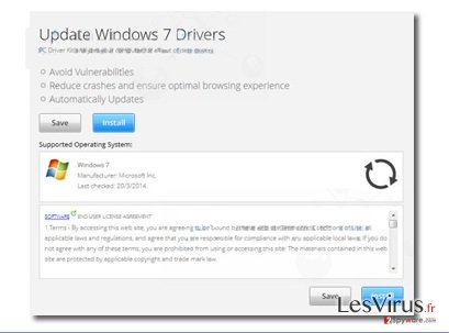 """Update Windows 7 Drivers""-Pop-up-Anzeigen-Screenshot"