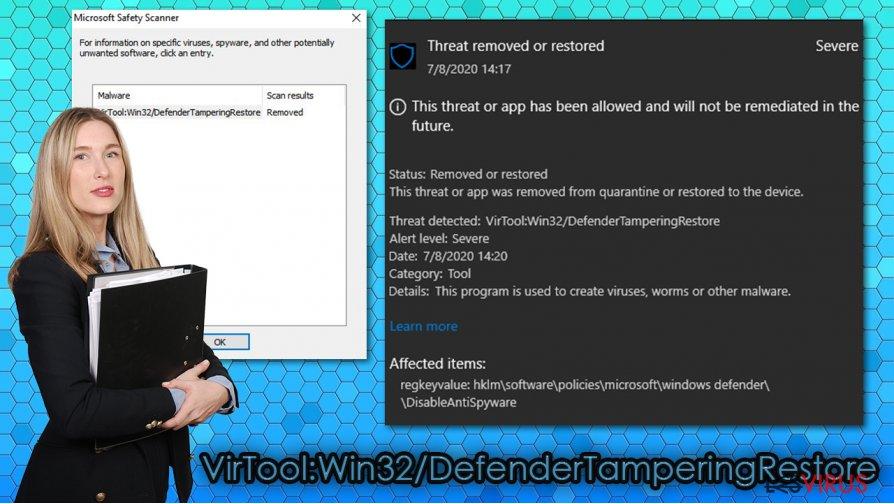 Der Virus VirTool:Win32/DefenderTamperingRestore