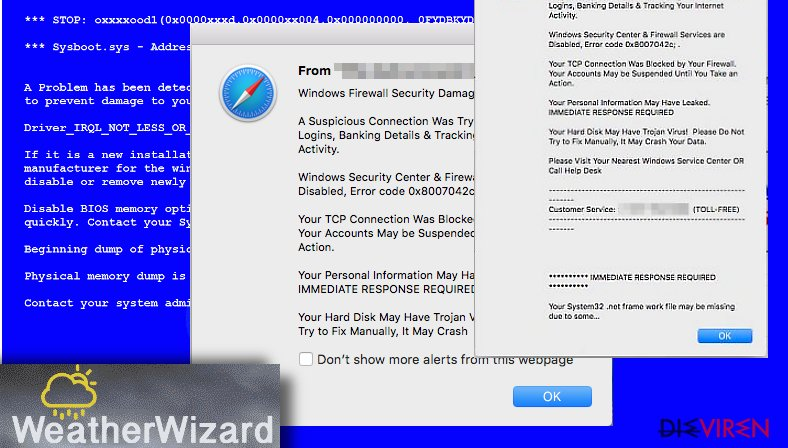 Weather Wizard adware shows fake alerts