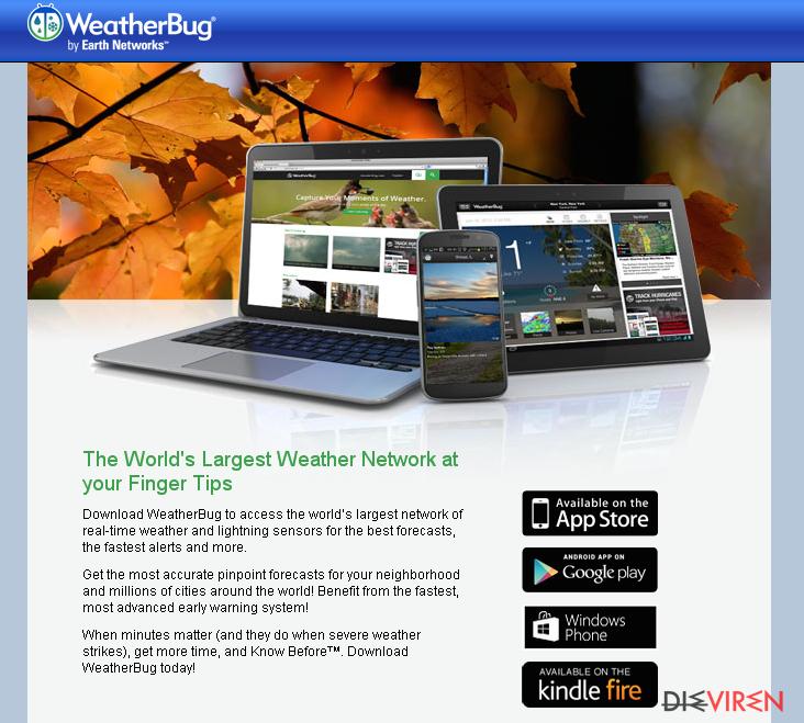 Anzeigen von WeatherBug-Screenshot