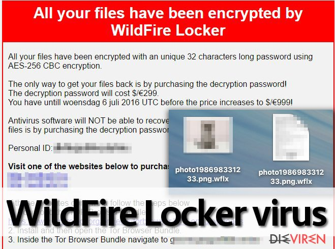 WildFire Locker ransomware leaves a note for the victim