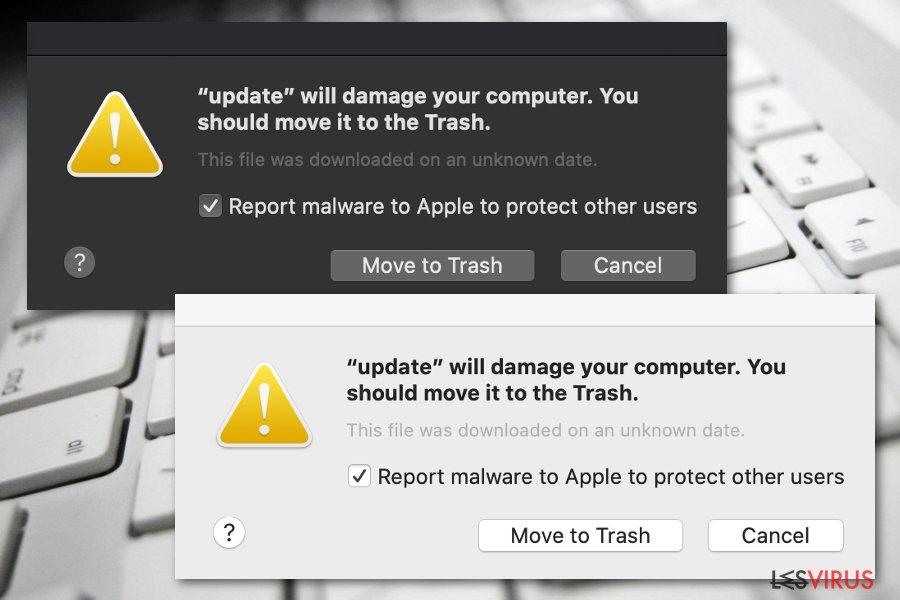 """Die Meldung von """"Beschädigt deinen Computer. Es empfiehlt sich, das Objekt in den Papierkorb zu bewegen"""""""