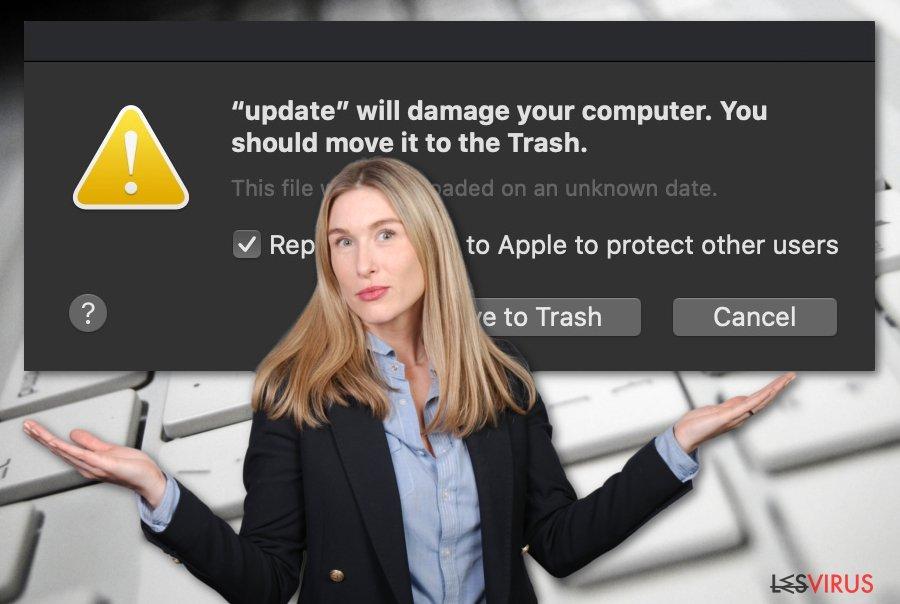 """Ist """"Beschädigt deinen Computer. Es empfiehlt sich, das Objekt in den Papierkorb zu bewegen"""" ein Virus?"""