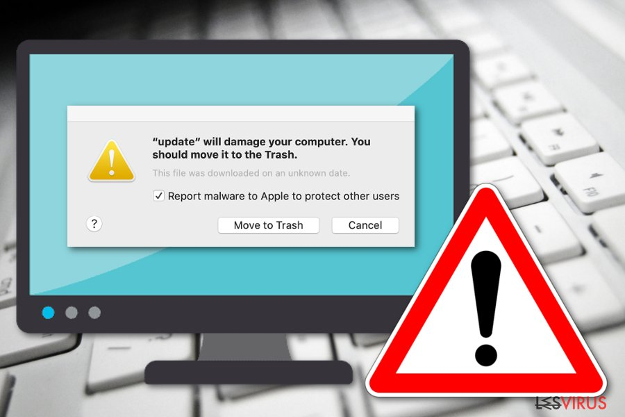 """Die Nachricht """"Beschädigt deinen Computer. Es empfiehlt sich, das Objekt in den Papierkorb zu bewegen"""""""