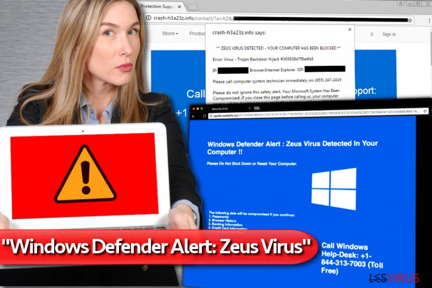 """Windows Defender Alert: Zeus Virus""-Supportbetrug-Screenshot"