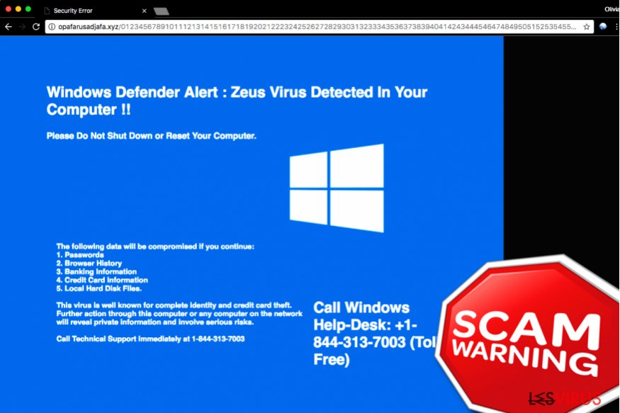 """Windows Defender Alert: Zeus Virus""-Supportbetrug"