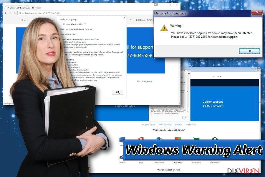 Abgebildet ist das Windows Warning Alert