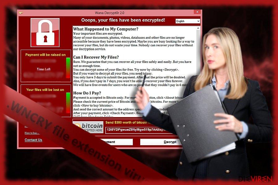 Screenshot von WNCRY oder alternativ bekannt als WanaDecrypter