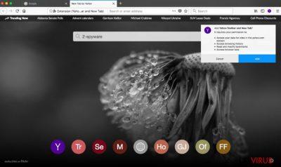 Die Yahoo-Toolbar im Browser Firefox