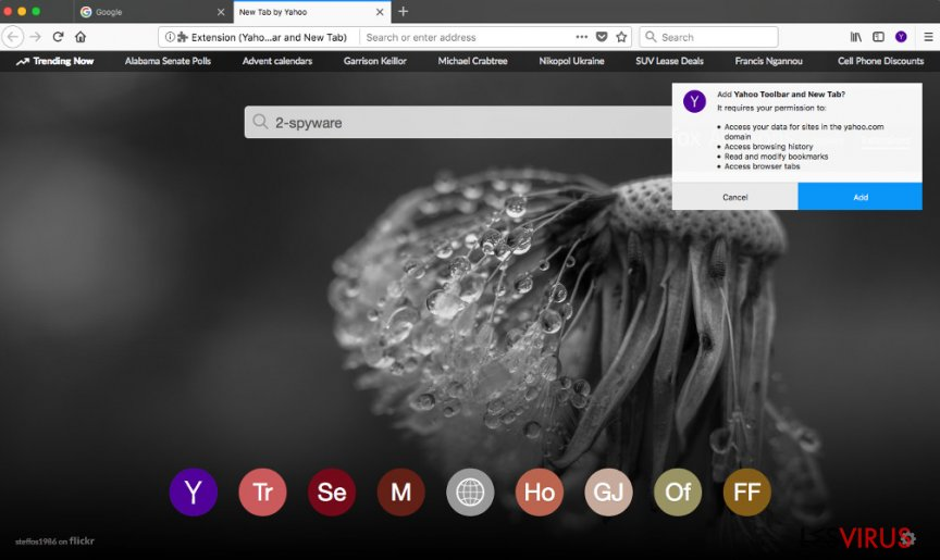 Yahoo Toolbar on Firefox web browser
