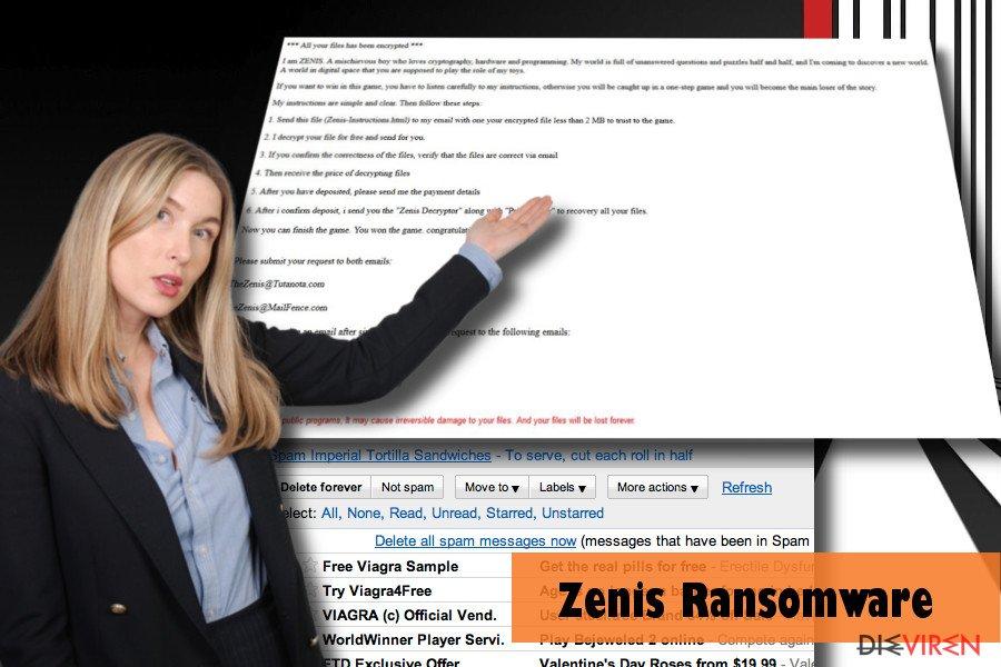 Beispiel eines PCs, der vom Zenis-Virus befallen ist