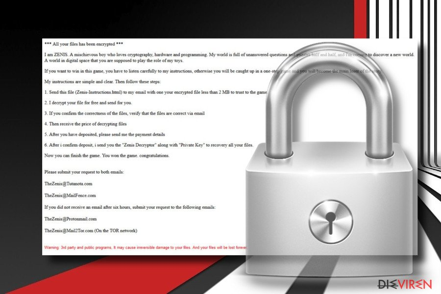 Screenshot Zenis-Erpressersoftware
